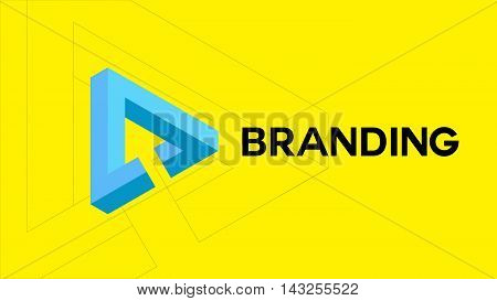 Web cursor arrow vector logo. Triangle logo design. Computer mouse cursor in a triangle infinity logo shape. Loop 3D symbol for tech or web company logo.