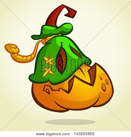 Creepy vector Halloween pumpkin head monster in mask drawn in a humorous cartoon style.