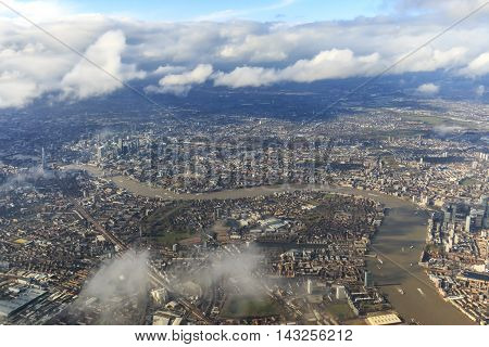 London, England - March 27, 2016: Aerial View Of London With The River Thames