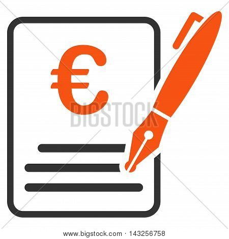 Euro Contract Signature icon. Glyph style is bicolor flat iconic symbol with rounded angles, orange and gray colors, white background.