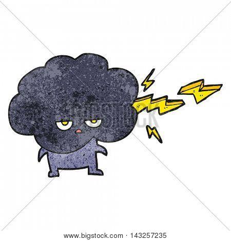 freehand drawn texture cartoon raincloud character shooting lightning