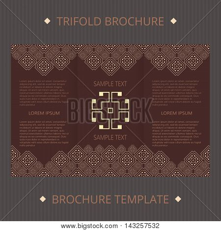 Trifold vector cards. Greek design vector template. Invitation concept template trifold.