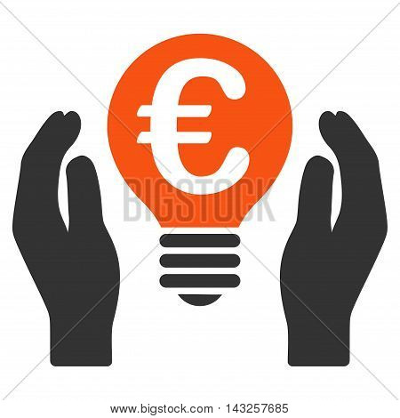 Euro Patent Care icon. Glyph style is bicolor flat iconic symbol with rounded angles, orange and gray colors, white background.