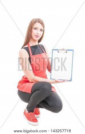 Beautiful Female Employee Holding Empty Clipboard