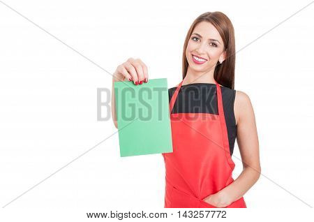 Cheerful Female Employee Holding Empty Board