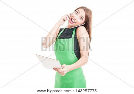 Excited Young Saleswoman Holding Tablet