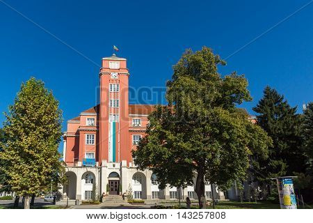 Building of Town Hall in the center of City of Pleven, Bulgaria