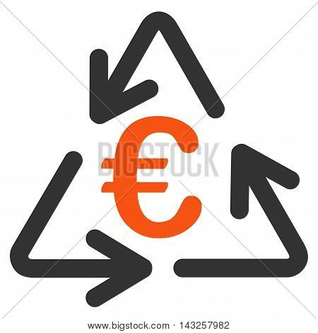 Euro Recycling icon. Glyph style is bicolor flat iconic symbol with rounded angles, orange and gray colors, white background.