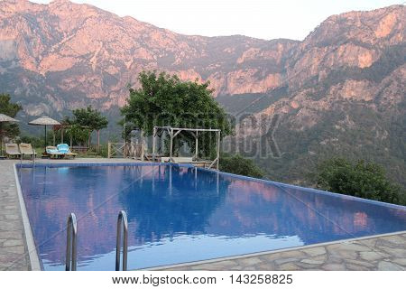 Late evening in Kabak, Turkey, with the sun getting low and giving great colours on the mountain side, 2016