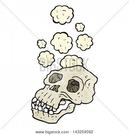 freehand textured cartoon ancient skull