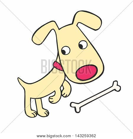 Vector Cute Cartoon Dog and Bone Illustration isolated on white background