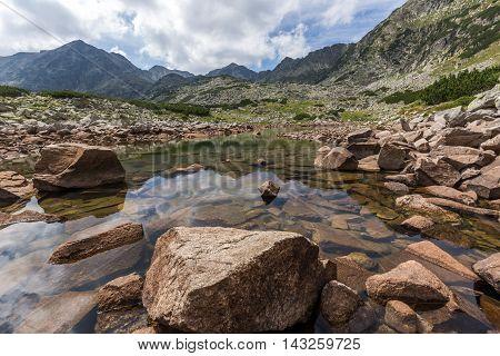 Amazing Reflection of Irechek and Musala peak in Musalenski lakes,  Rila mountain, Bulgaria