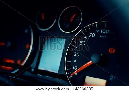 Instrument panel of modern car, close up