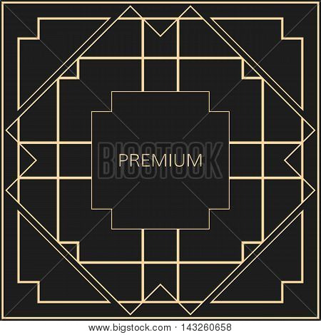 Vector geometric frame in Art Deco style. Square abstract element for design. Light golden lined shape.