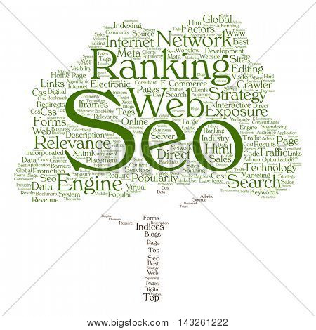 Concept or conceptual search engine optimization, seo abstract tree word cloud isolated on background