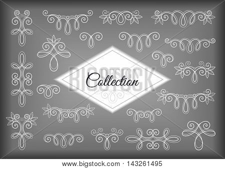 Vector Set of Calligraphic Design Elements and Page Decorations. Collection of Linear Borders. Vintage Deco Style