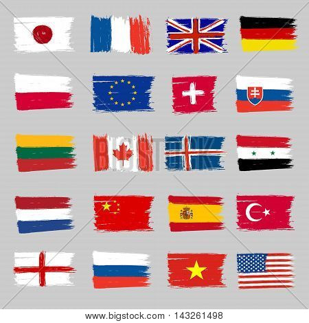 Set Of 20 Flags - Grunge Icons