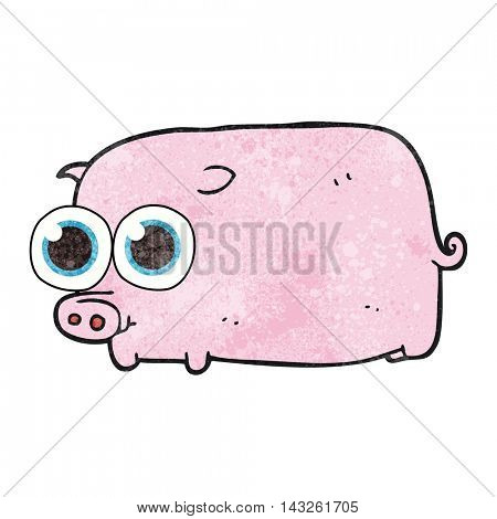 freehand textured cartoon piglet with big pretty eyes