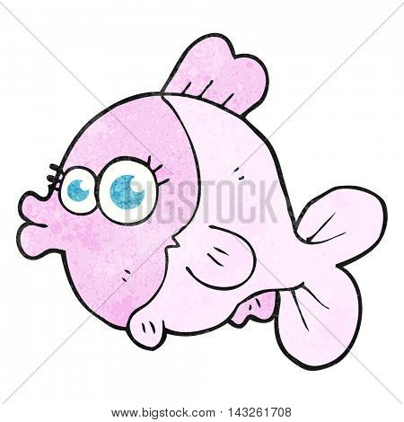 funny freehand textured cartoon fish with big pretty eyes