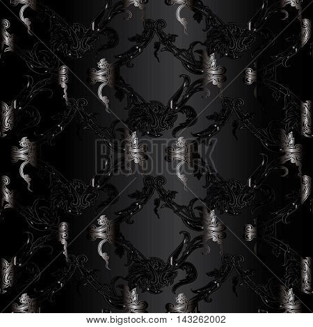 Modern stylish dark black baroque seamless vector pattern background with abstract volumetric damask ornaments.Vintage luxury 3d floral  elements with shadow and highlights.Decorative  design. Rich texture