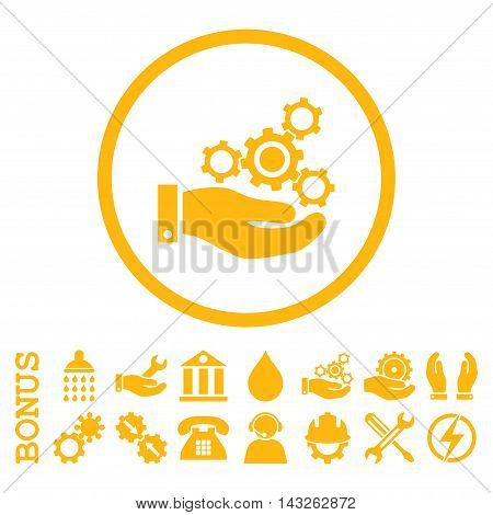 Mechanics Service glyph icon. Image style is a flat pictogram symbol inside a circle, yellow color, white background. Bonus images are included.