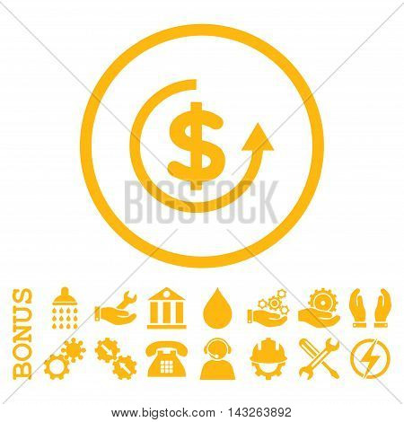 Refund glyph icon. Image style is a flat pictogram symbol inside a circle, yellow color, white background. Bonus images are included.