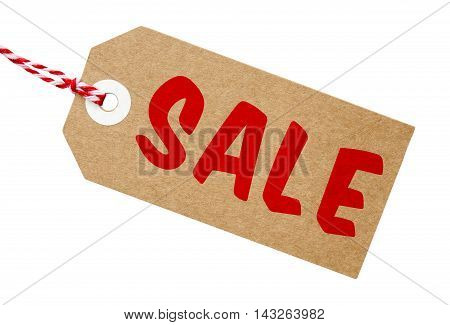 Sale tag made from recycled card with string on an isolated white background with a clipping path
