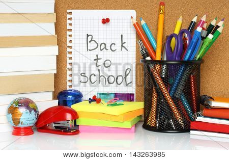 Back to school supplies. pencils and post it