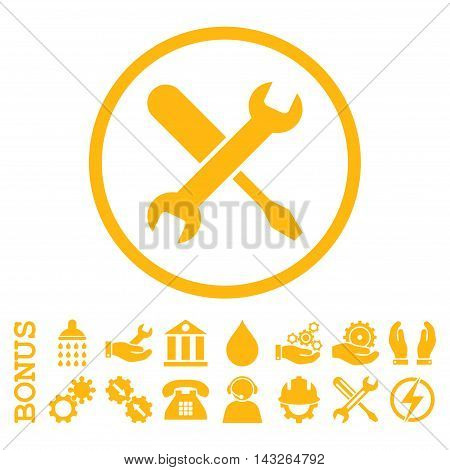 Tuning glyph icon. Image style is a flat pictogram symbol inside a circle, yellow color, white background. Bonus images are included.
