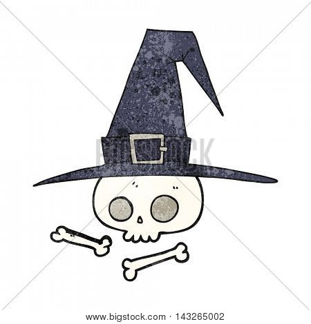 freehand textured cartoon witch hat with skull