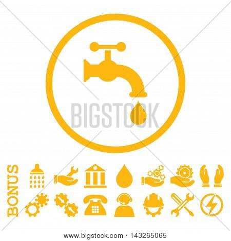 Water Tap glyph icon. Image style is a flat pictogram symbol inside a circle, yellow color, white background. Bonus images are included.