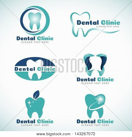 Dental Clinic logo sign vector set design
