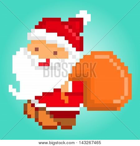 Vector pixel art illustration of happy smiling Santa Claus with a bag of presents delivering gifts. Character for Christmas design.