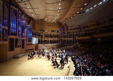 MOSCOW - APR 20, 2015: Concert devoted to 100th anniversary of David Ashkenazy in House of Music, Svetlanov hall
