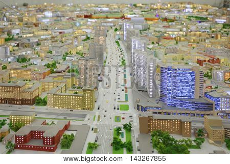 MOSCOW - DEC 20, 2014: Miniature of New arbat street in Moscow with illumination in VDNKH exhibition