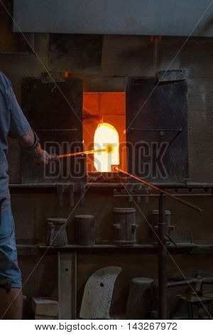 Furnace in traditional glass factory