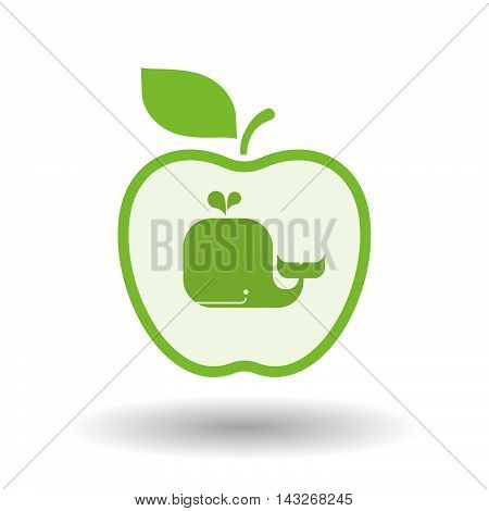 Isolated  Line Art Apple Icon With A Whale