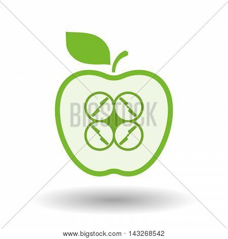 Isolated  Line Art Apple Icon With A Drone