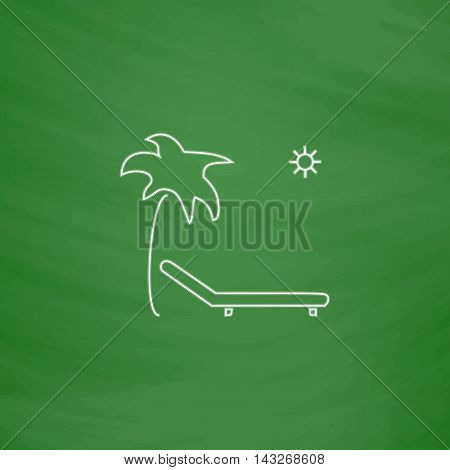 Deck chair Outline vector icon. Imitation draw with white chalk on green chalkboard. Flat Pictogram and School board background. Illustration symbol