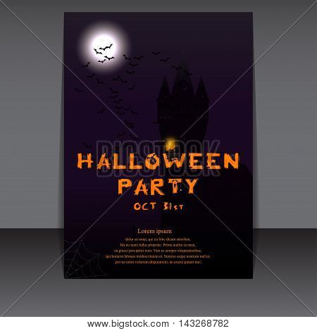 Halloween flyer design with castle silhouette on full moon. Vector illustration. Template for Halloween party invitation.