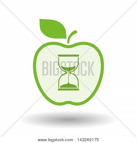Isolated  Line Art Apple Icon With A Sand Clock