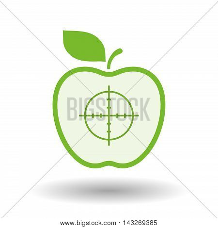 Isolated  Line Art Apple Icon With A Crosshair