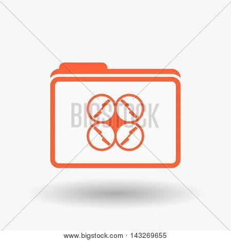Isolated  Line Art  Folder Icon With A Drone