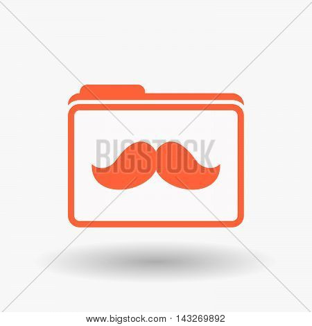 Isolated  Line Art  Folder Icon With A Moustache