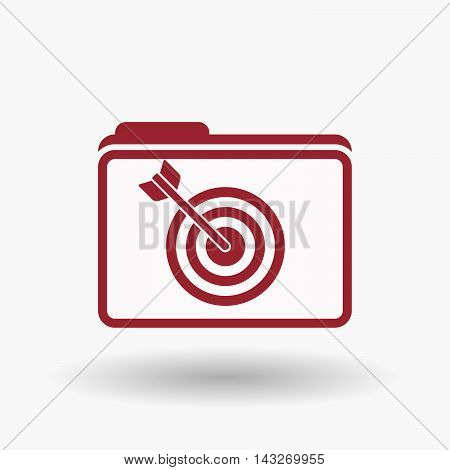 Isolated  Line Art  Folder Icon With A Dart Board