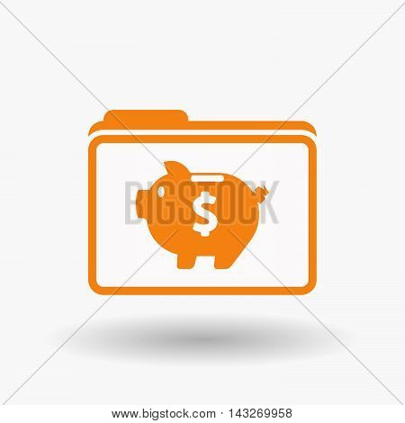 Isolated  Line Art  Folder Icon With A Piggy Bank