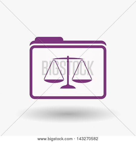 Isolated  Line Art  Folder Icon With A Justice Weight Scale Sign