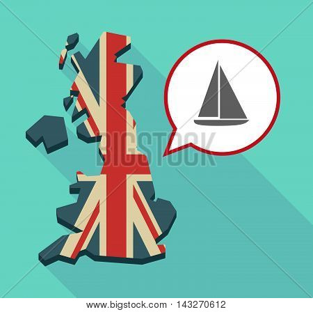 Long Shadow United Kingdom Map With A Comic Balloon And A Ship