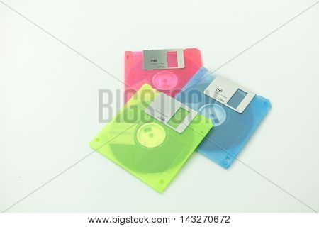 color floppy disk on the white background