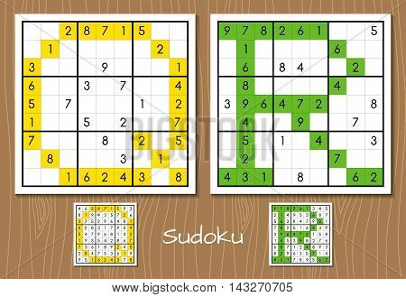 Sudoku vector set with answers. Q, R letters